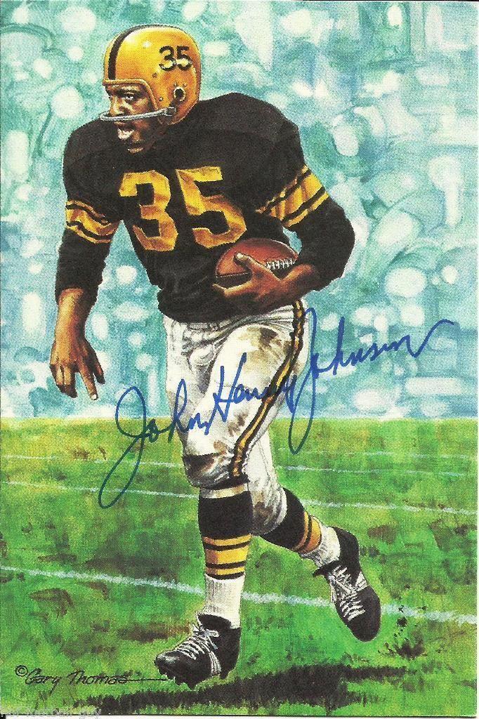 JOHN HENRY JOHNSON SIGNED GOAL LINE ART CARD~PRO FOOTBALL HALL OF FAME~HOF AUTO | eBay