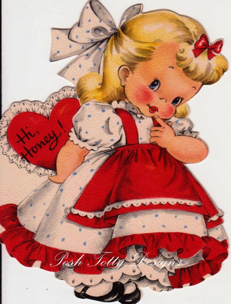 Vintage Hi Honey Hallmark Valentines Greetings Card (B7) so adorable !