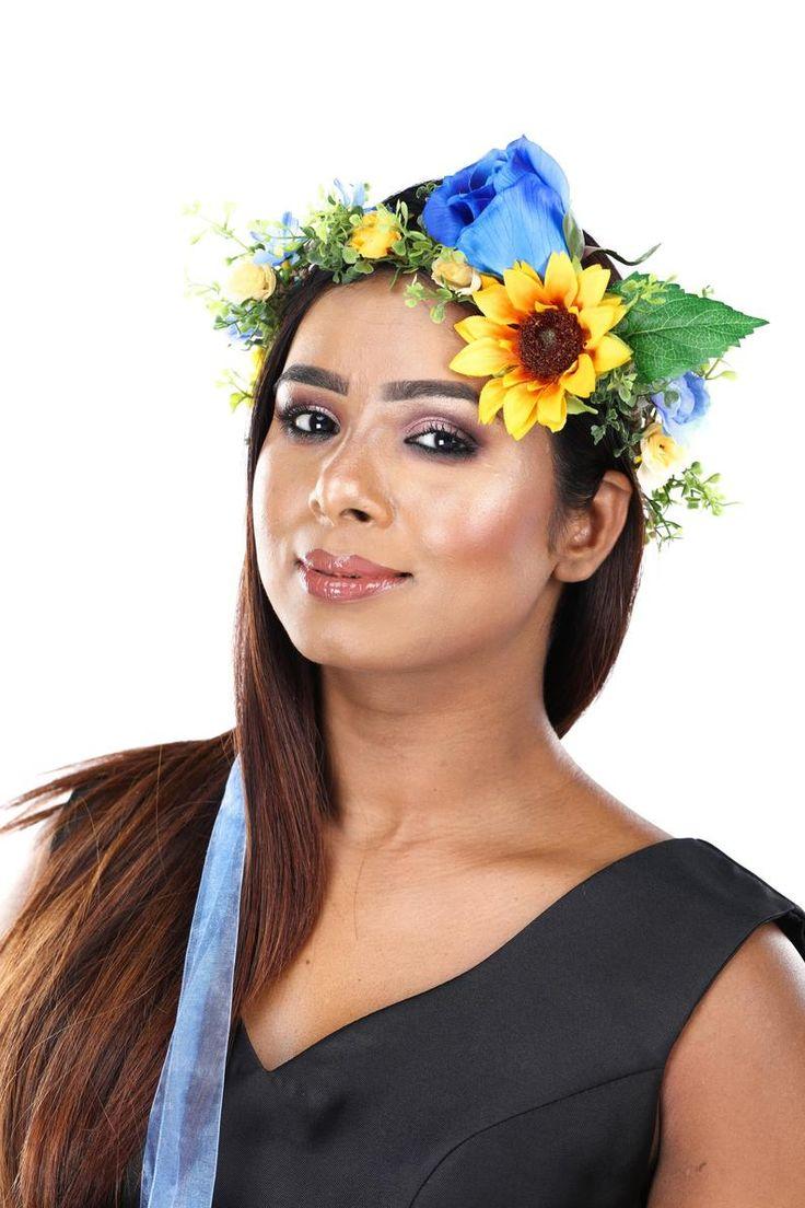 Blue rose and sunflower silk flower crown in 2020 silk