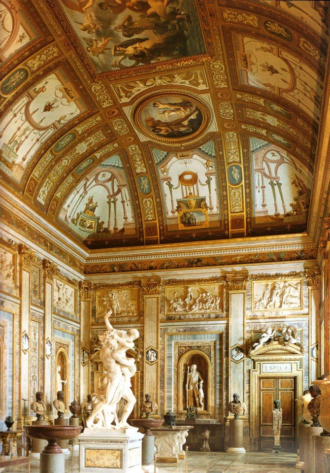 The gallery in Villa Borghese, Rome