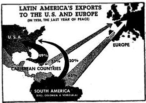 War Resources Map-The United States and the rest of the Allies benefited greatly from the additional resources that they received from Latin American countries.  Many Latin American countries were in full support of U.S. ideals and the war effort.