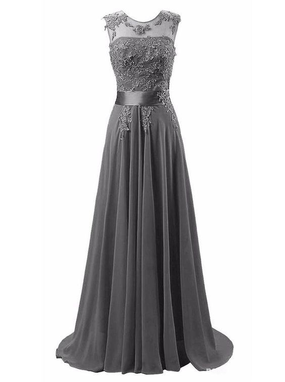 Sexy Prom Dress,Sleeveless Appliques Prom Dress,Chiffon Evening Dress,Long Evening Gowns F1114