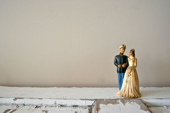 antique wedding cake topper: 1950's military navy groom and bride. $52.00, via Etsy.