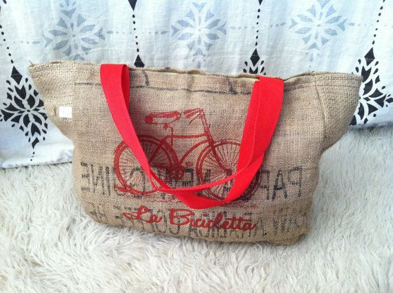Giveaway!!! La Bicicletta Tote Bag Made From Recycled Coffee Sacks