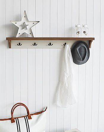 5 Hook Double coat rack. Five double hooks for coats. Simple hall furniture