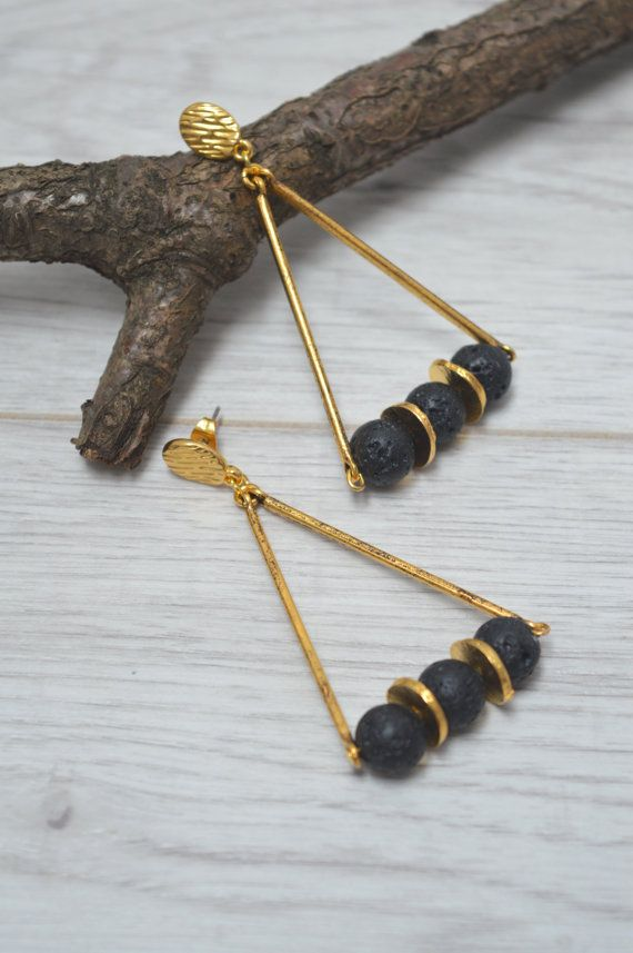 Gold beaded earrings, lava earrings, triangle earrings, dangle earrings, boho earrings, modern earrings, stud earrings, fashion earrings