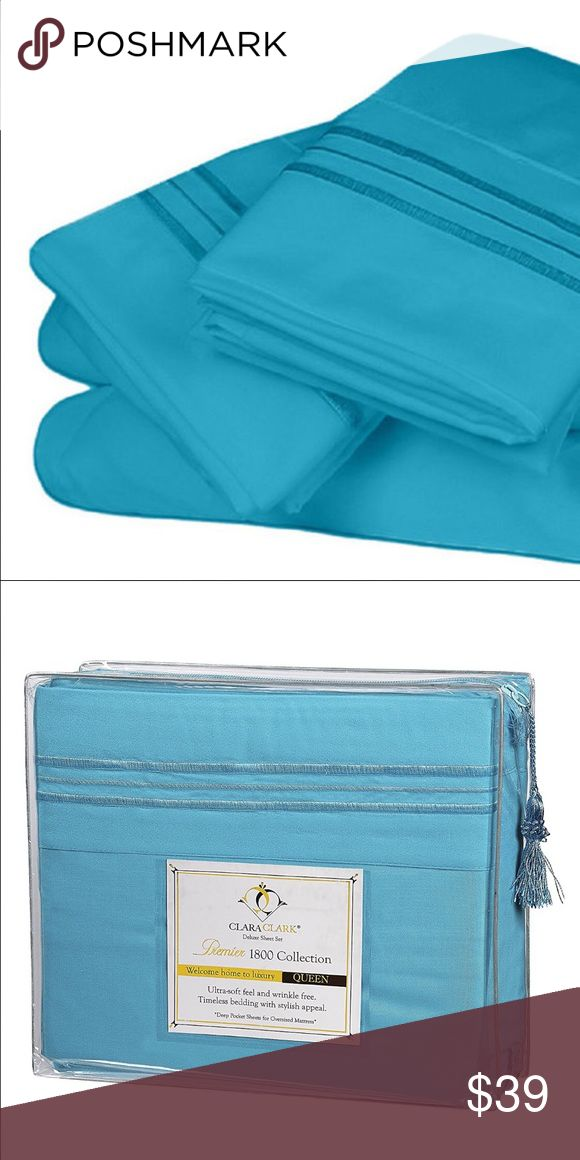 1800 TC 4PC Bed Sheet Set New Beach Blue  Includes:  1 flat sheet  1 fitted sheet  2 pillow Sham  The Folks at Clara Clark want to wish you the sweetest dreams... With a cool, lustrous feel and silky- smooth touch, these sheet sets are guaranteed to offer a dreamy and restful night's sleep.  Designed to maintain its vibrancy of color and exceptional softness  Quality, Affordability, and Style. Ultra-Soft feel and wrinkle free. Easy Care- machine wash in Cool waters  Deep pockets  Designed to…