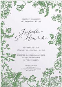 Verdant Bouqet Inbjudningskort tryckt med Letterpress / invitasjon / letterpress / inbjudan / calligraphen / blommor / mönster / grönt / inbjudan / bröllop / bryllup