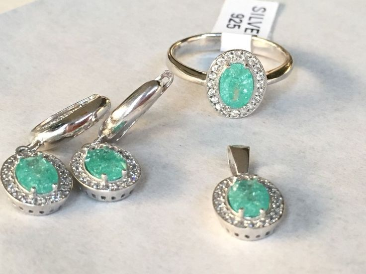 Turkish Handmade 925K Sterling Silver Green Ice Zircon White Zircon Set RS 6 5 | eBay