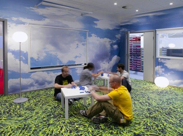 picnic office design. bringing the picnic experience to office cloud wallpaper and printed grass flooring design n