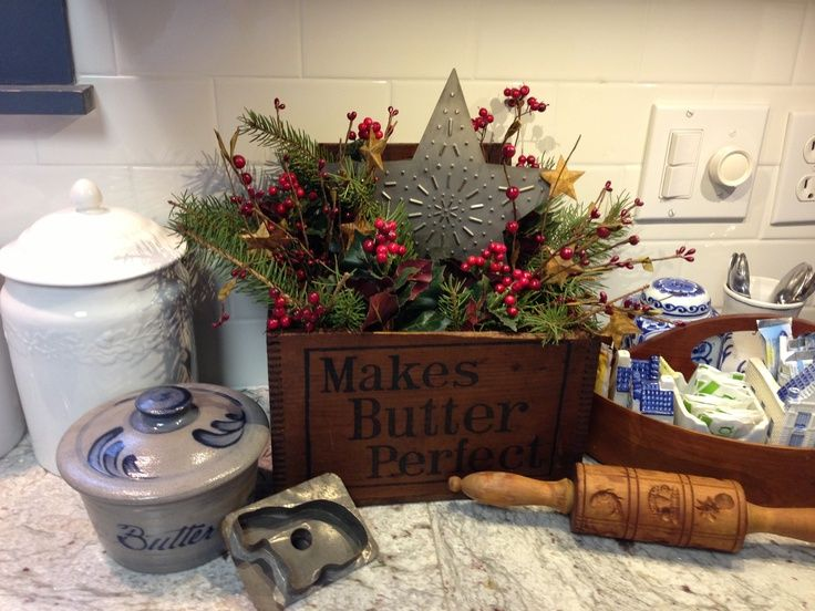 Primitive butter box decorated for Christmas