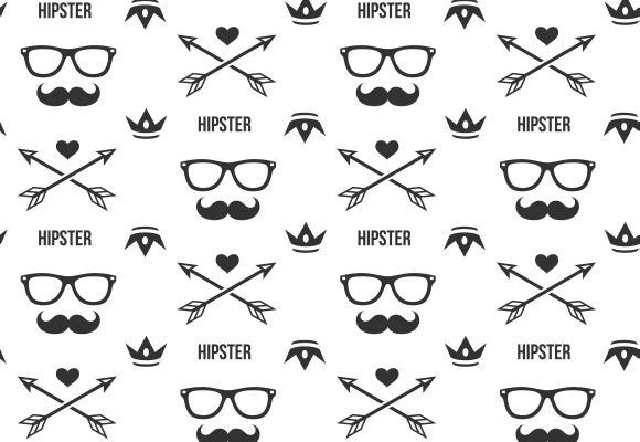 Hipster pattern. Seamless background with mustaches, arrows and crowns and glasses, silhouette and form, vector illustration