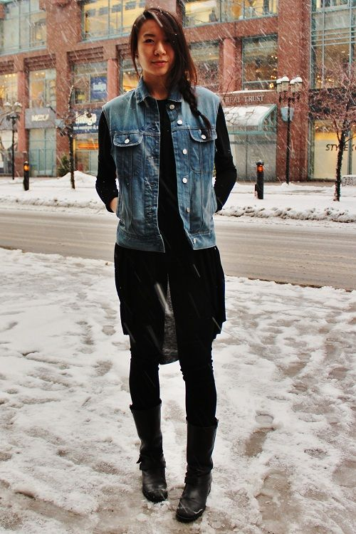 STYLE ADVICE OF THE WEEK: Shed Your Sleeves | College Fashionista  Denim vest, black chiffon top.