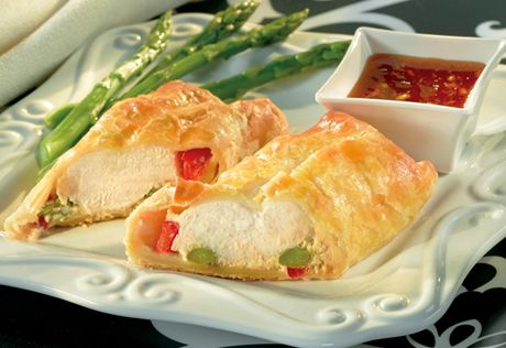 This elegantly presented dishis surprisingly easy to make. It features tender chicken, colorful vegetables and seasoned cream cheese baked in a golden, flaky puff pastry crust.