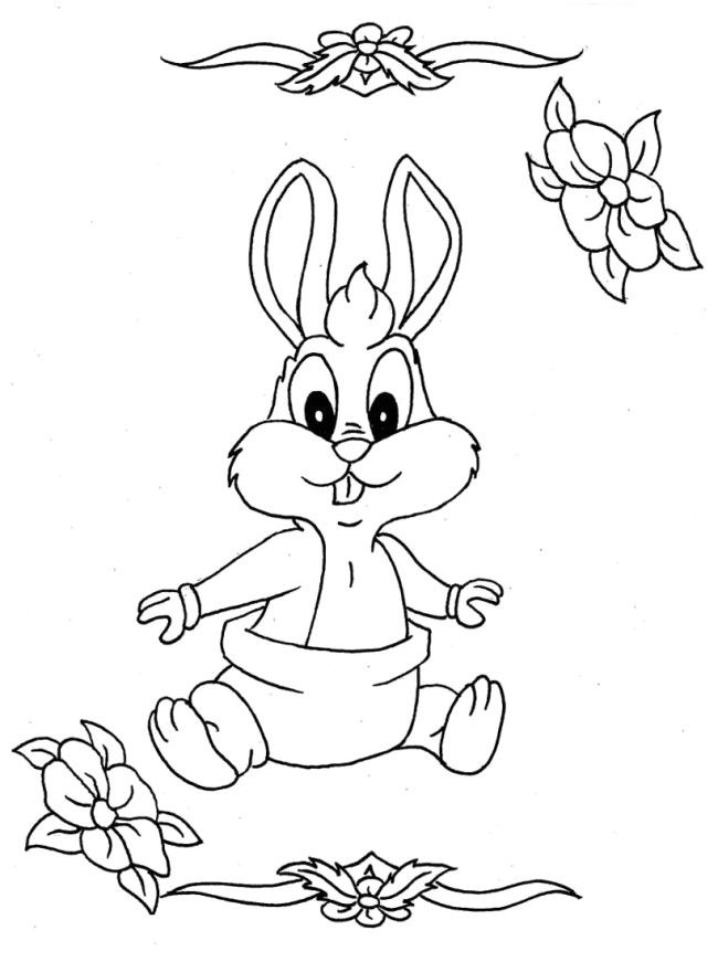 baby bunny full coloring page for kids and adults from cartoon characters coloring pages bugs bunny coloring pages - Bunny Pictures To Color 2