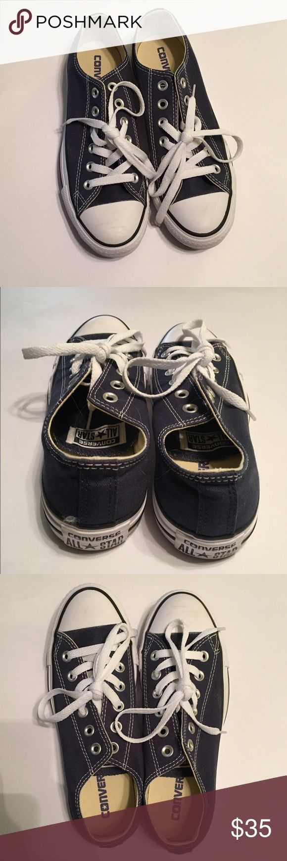 Ladies Navy Blue Converse Size: 7 US - worn once ✨ Ladies Navy Blue Converse Size: 7 US - worn once - EXCELLENT CONDITION- as seen in photos 😊☀️😊☀️😊 ••Note: this is a LADIES/Women's size 7 purchased from Nordstroms as Women's size 7•• Converse Shoes Sneakers