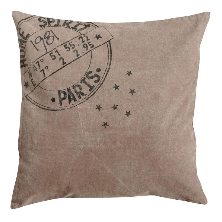Coussin déhoussable 100% coton délavé style #industriel, collection STAMP chez delamaison.fr