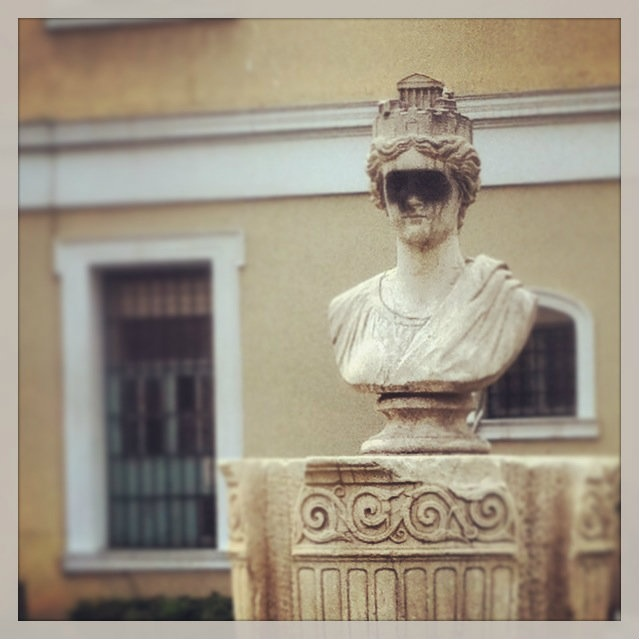 The city of Athens personified in a bust located behind the Municipal Cultural Center. (Walking Athens, Route 10 - Kolonaki)