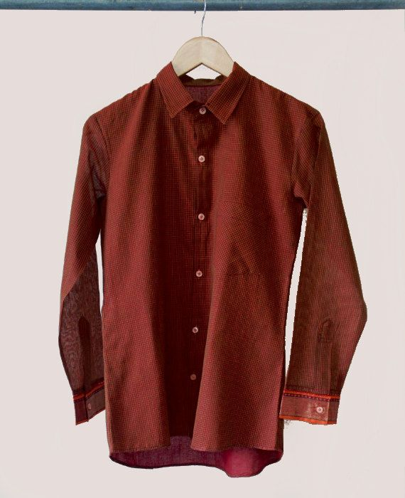 Plaid Button Down Shirt Crafted from a Traditional Saree by MograDesigns