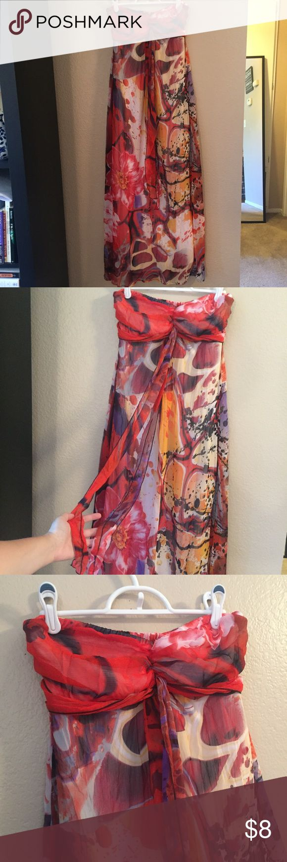 Strapless Red Dress with stunning pattern This gorgeous strapless, maxi dress looks great with some sandals or a jean jacket. Only wore it once or twice so it's in great condition. Has a chiffon overlay with a nude colored slip inside. Xhilaration Dresses Strapless