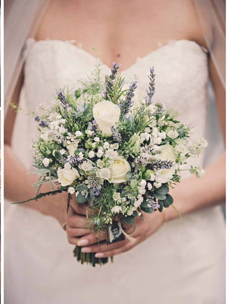 Lavender, Roses and Gypsophila Bridal Bouquet