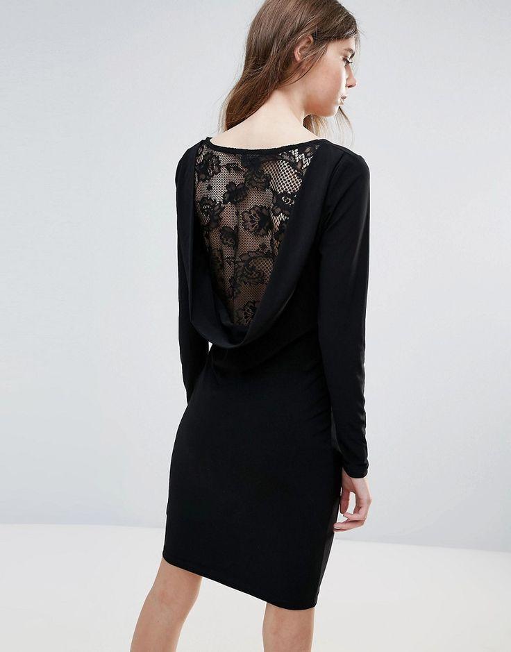 Ichi Lace Insert Back Bodycon Dress - Black