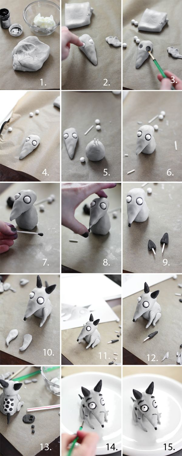"Frankenweenie ""Sparky"" i know this is made from fondant but i want to make it from clay :3"