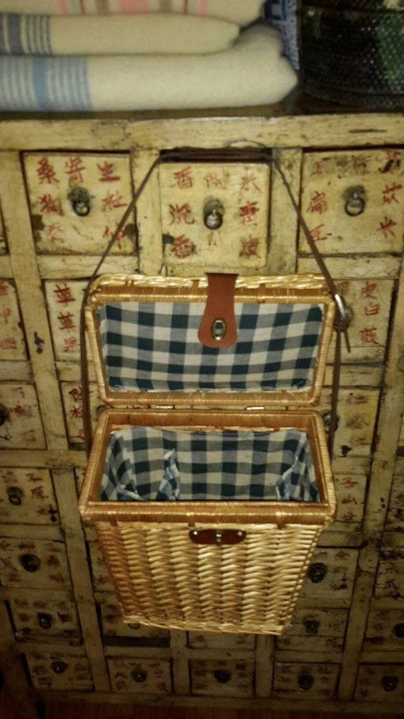 Wicker Basket Picnic Wine Hamper Blue Linen by AntiquesandVaria