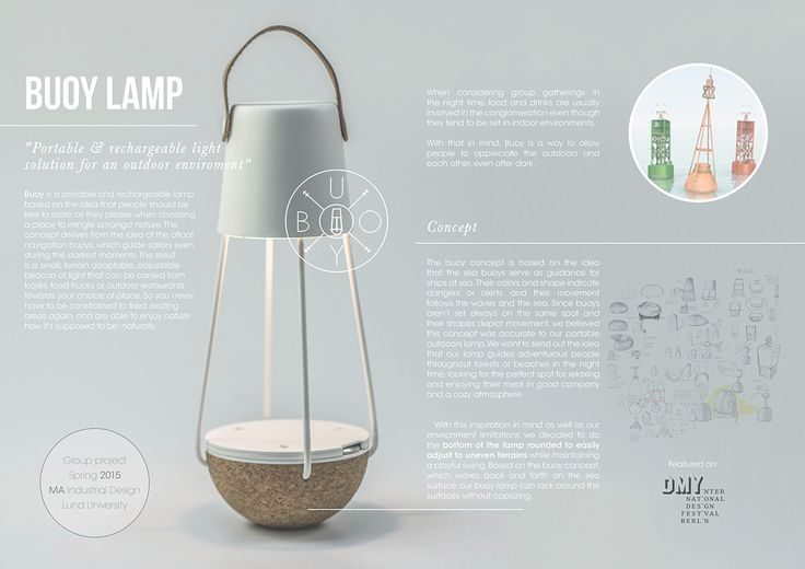 Buoy is a portable, rechargeable outdoors lamp.