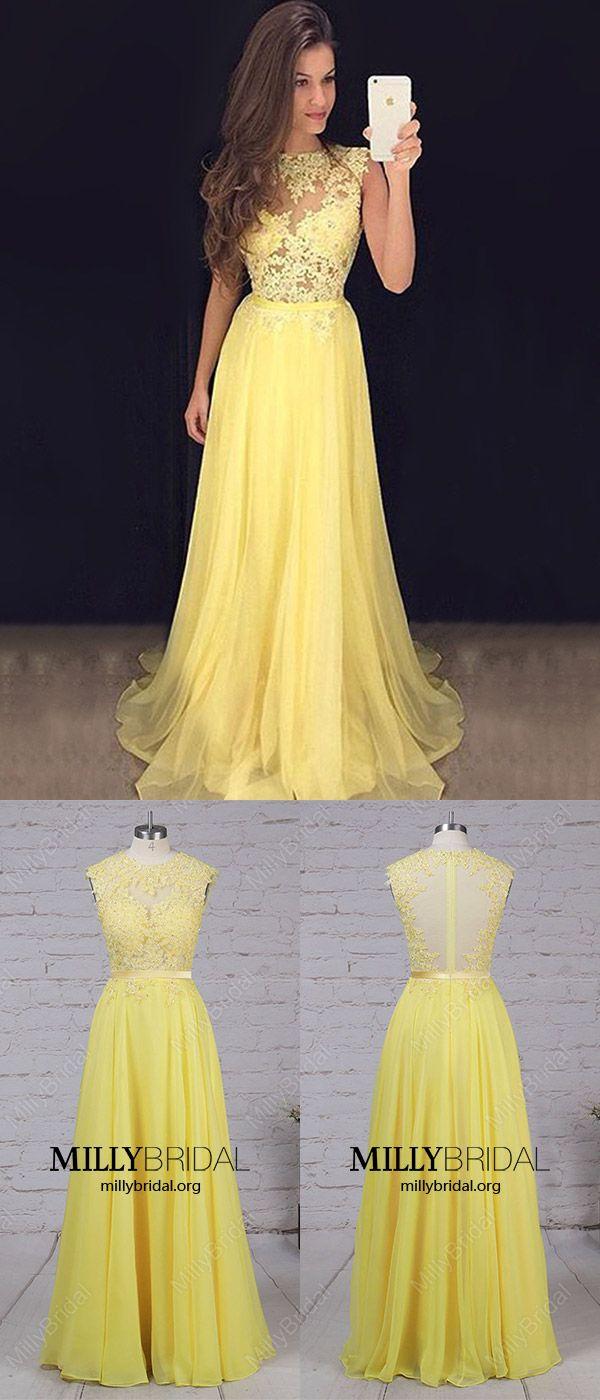 Daffodil prom dresseslong prom dresss lacechiffon prom dresses for