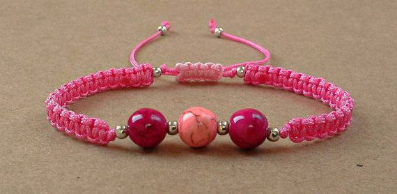 Magenta Howlite Bead Bracelet  Chaoliti  Knitted   by dngcreations