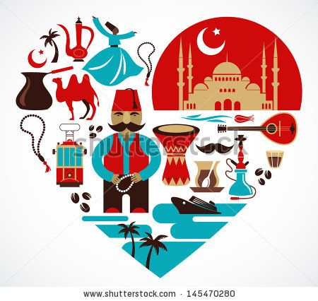 Turkey - heart with a lot of vector icons and illustrations - stock vector