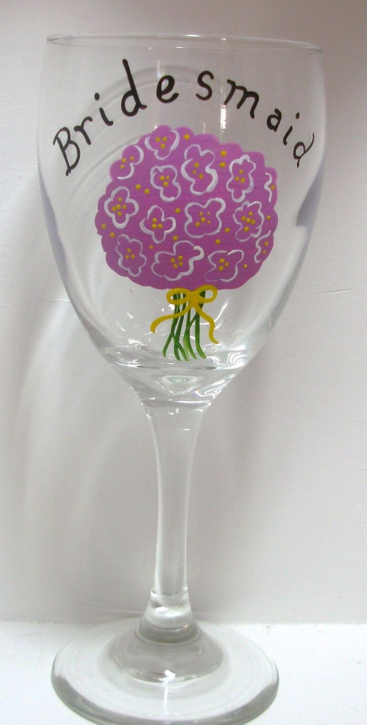 How to decorate wine glasses for bridesmaids - Bridesmaid Wine Glass Handpainted Personalized