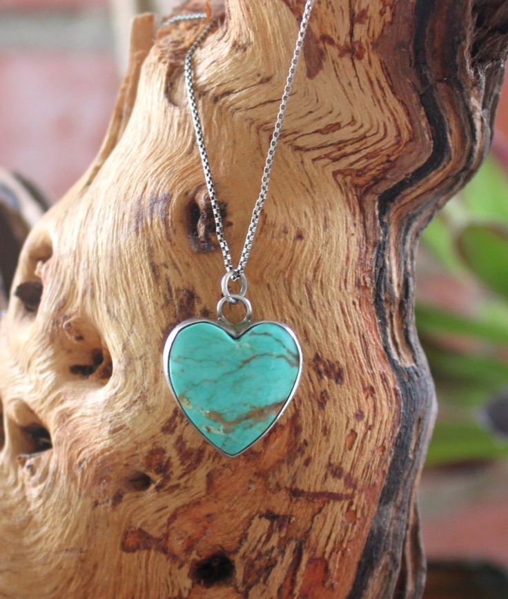 Turquoise Heart Necklace 925 Sterling Silver Southwest Blue by CaliCollectables on Etsy