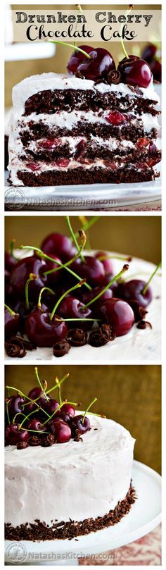 Drunken Cherry Chocolate Cake - This cake is amazingly good; moist, chocolatey, boozy, and cherry-licious!
