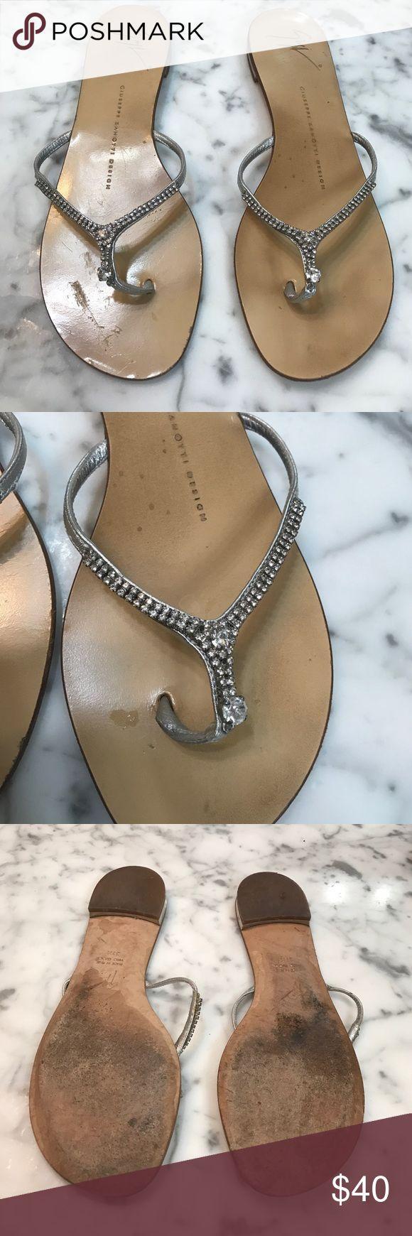 Giuseppe Zanotti  Sandals Size 37 1/2 (7.5 US) Giuseppe Zanotti Design sandles. Straps are silver metallic with crystal stones. Giuseppe Zanotti Shoes Sandals