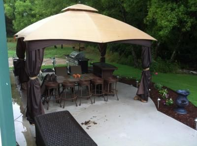 Shop allen + roth 10.76-in x 12.9-in x 9.86-ft Polyester Roof Brown Steel Rectangle Gazebo at Lowes.com