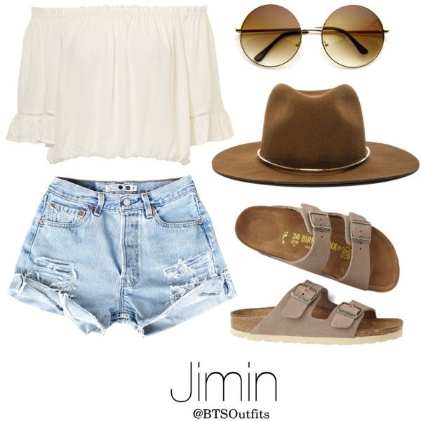 Coachella Date with Jimin by btsoutfits on Polyvore featuring polyvore, fashion, style, Birkenstock, Janessa Leone and clothing