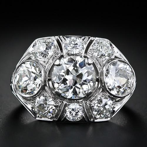 Diamond Rings 3.80  Carat Total Deco  Diamond  Ring