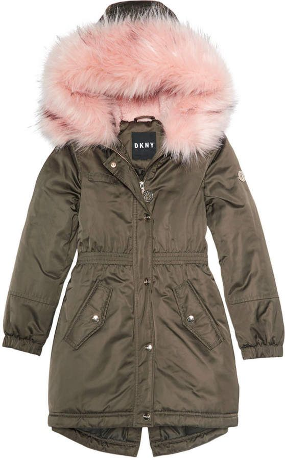 1351233ea DKNY Big Girls Hooded Long Anorak with Faux-Fur Trim