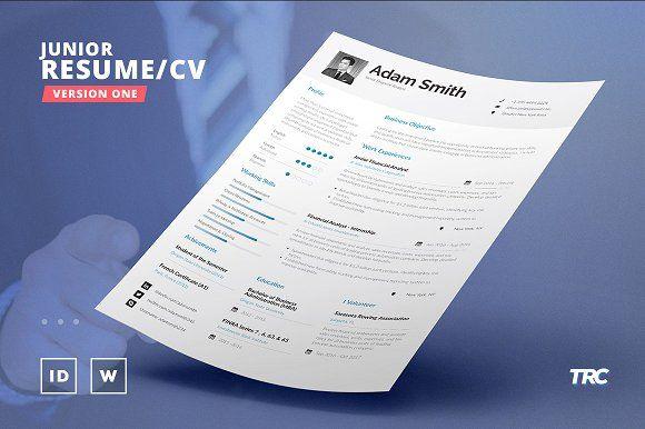 Junior Resume/Cv Template - V1 by TheResumeCreator on @creativemarket