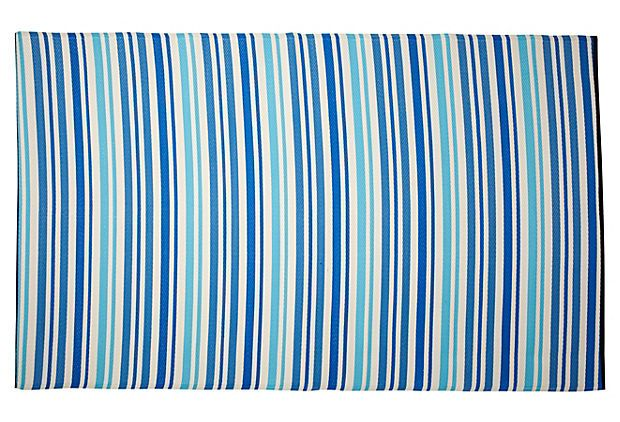 Stripe plastic outdoor rug blue for Blue striped outdoor rug