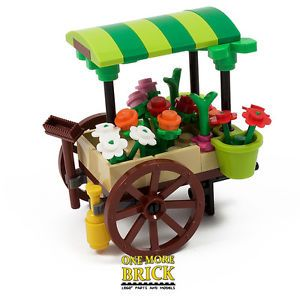 LEGO-Flower-Cart-Market-Stall-Florist-Custom-model-NEW