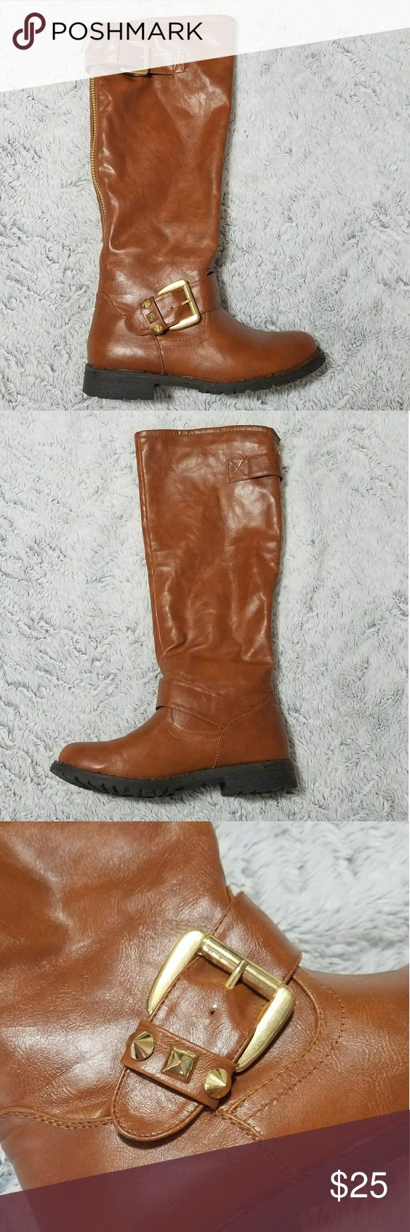 Camel Riding Boots With Gold Buckle Detailing Very cute, but the calf part is just too large for my chicken legs. Has cool studding at the buckle parts. Still wore these a few times but have since found a pair that hugs my legs more. Bamboo Shoes Winter & Rain Boots