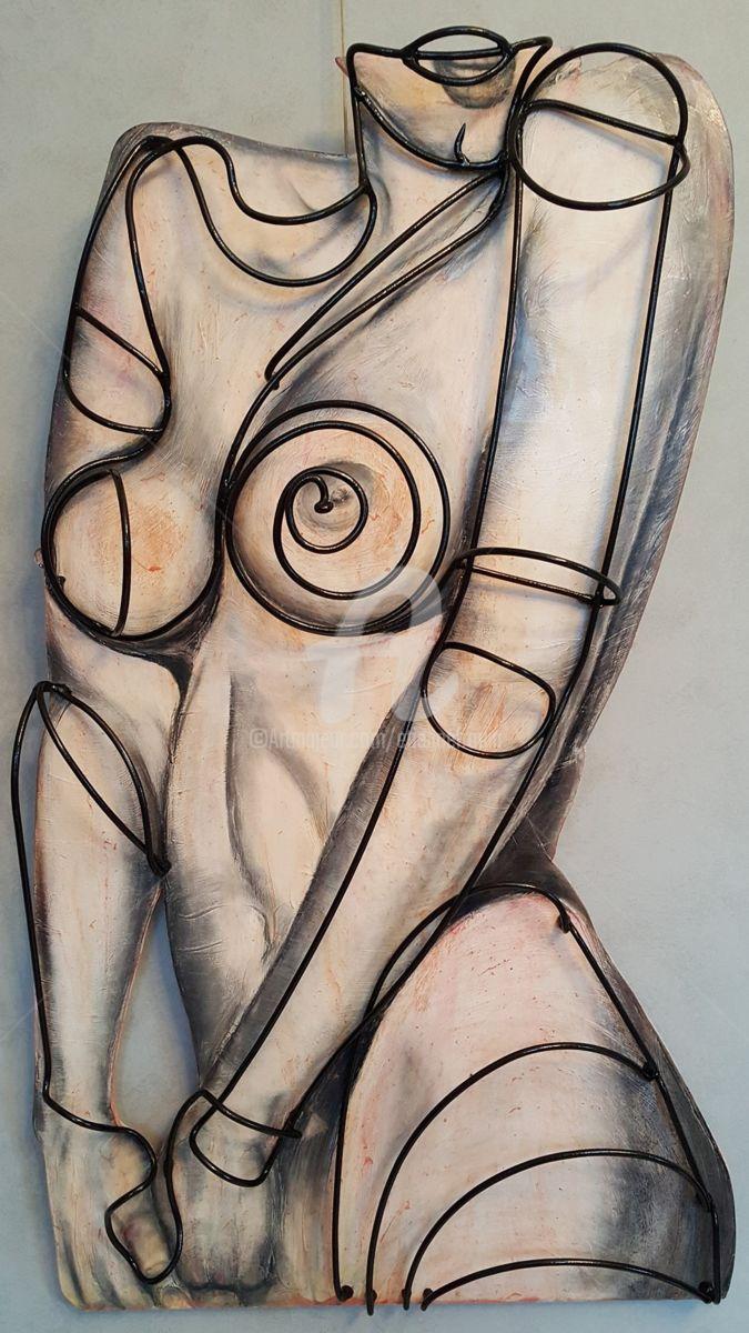 Clin d'oeil à Mel RAMOS - Média mixtes,  60x120x30 cm ©2017 par E9 Inertion -                                                              Pop Art, Métal, Corps, mel ramos, e9 inertion, etienne frouin, nadege frouin, contemporary art, sculptur, metal