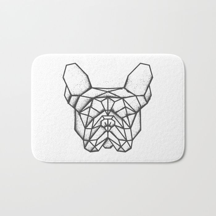 Geometric french bulldog shape sprayed onto a bath matt. #geometric #french #bulldog #blackandwhite