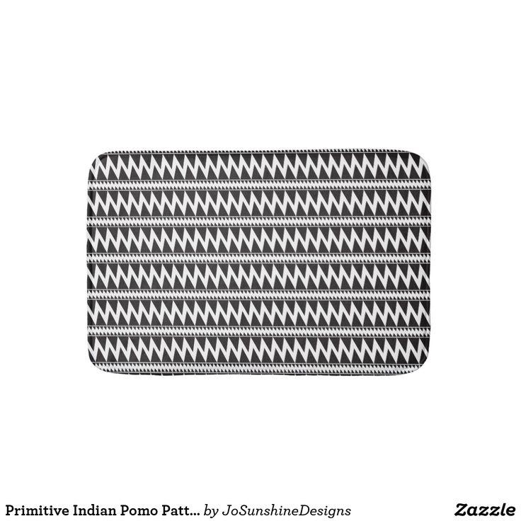 Primitive Indian Pomo Pattern Black White Bath Mat