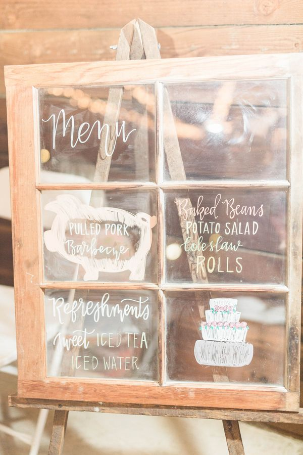 Wedding Menu on a Rustic Window Pane from a from a Southern Real Wedding / photo by Hannah Ruth Photography LLC