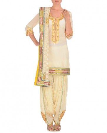 Cream Patiala Suit with Golden Gota Work http://bit.ly/MariamKhan #suits #salwar #patialasalwar #dhoti #luxury #kurti #fashion #India #Indianfashion #churidar #dupatta #MariamKhan #beautiful #shararas