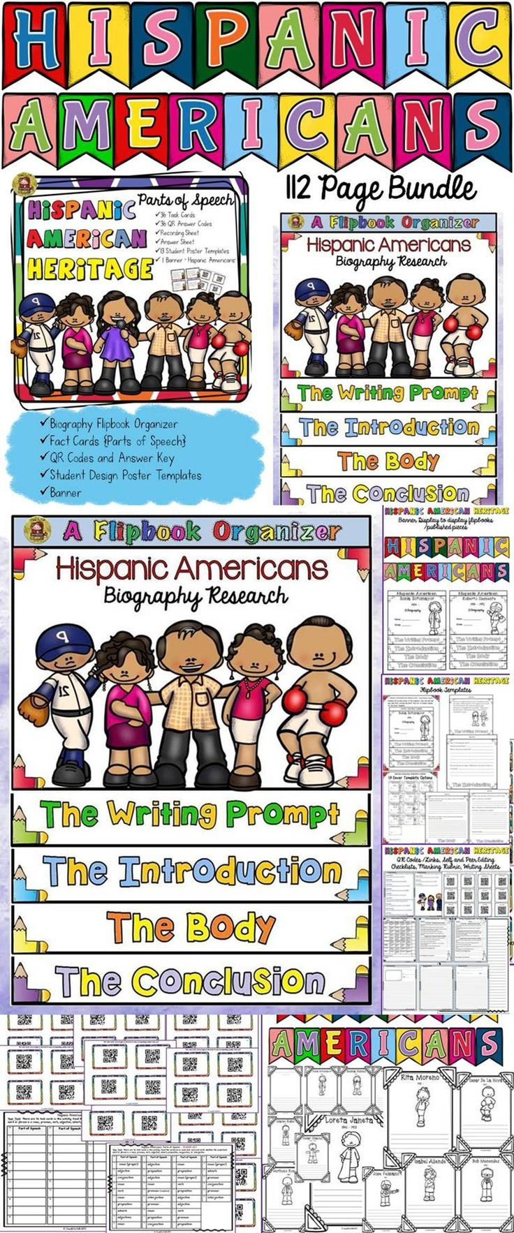 Make learning about Hispanic Americans fun and interesting with this 112 page bundle that celebrates Hispanic Heritage Month. Students will research and write biographies on famous Hispanic Americans and learn interesting facts integrating grammar and history using the 36 parts of speech fact cards. https://www.teacherspayteachers.com/Product/HISPANIC-HERITAGE-MONTH-BUNDLEBIOGRAPHY-FACT-CARDS-QR-CODES-POSTERS-BANNER-2122612
